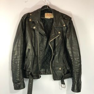 Vintage leather biker motorcycle jacket